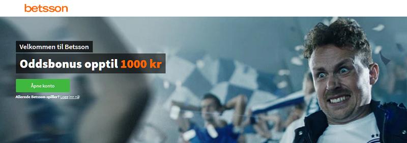 Betsson er et spilleselskap med oddsbonus opptil 1000 kr til nye spillere